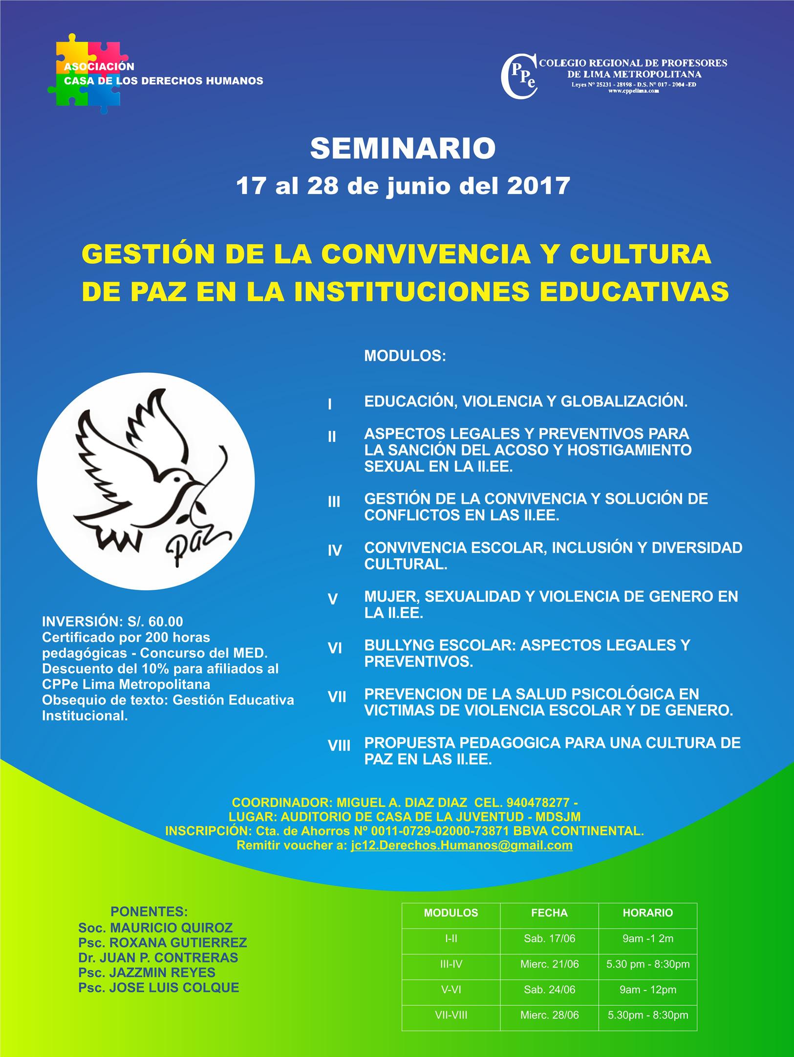Seminario: Gestión de la Convivencia y Cultura de Paz en las Instituciones Educativas - Colegio Regional de Profesores de Lima Metropolitana
