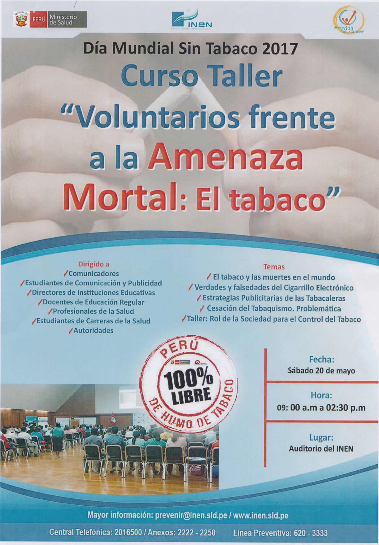 Curso Taller - Voluntarios frente a la Amenaza Mortal: El Tabaco